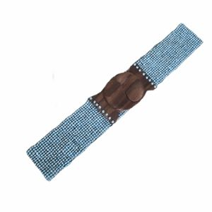 Turquoise Beaded Stretch Belt Wooden Hook Closure